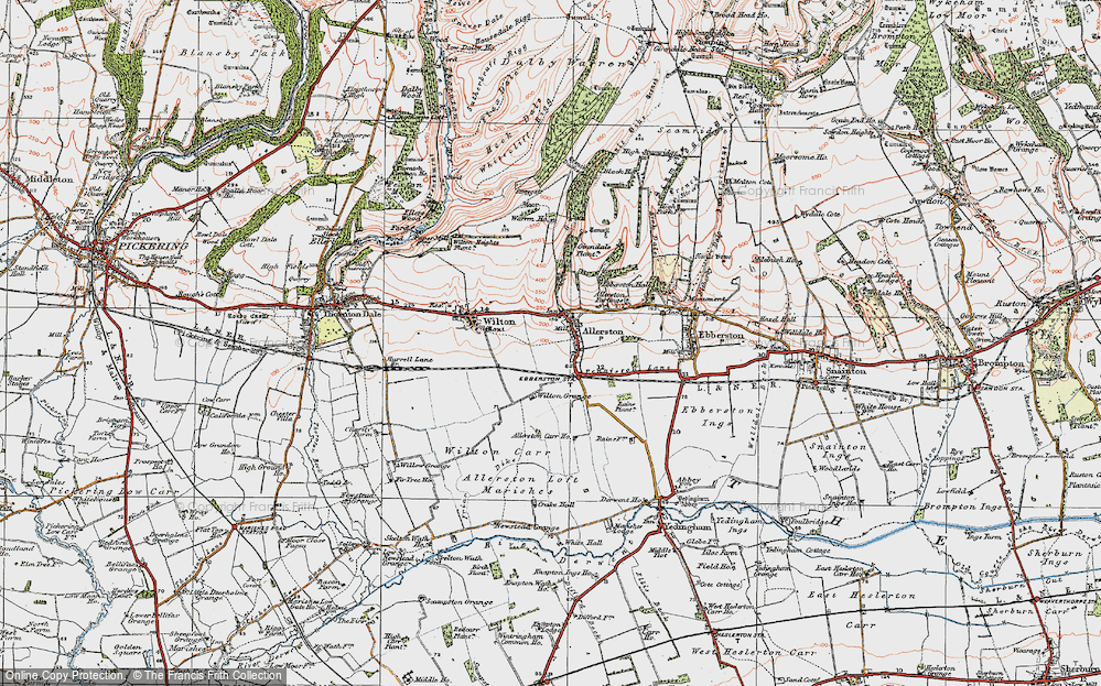 Old Map of Historic Map covering Allerston Loft Marishes in 1925