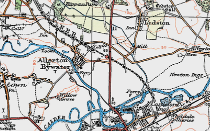 Old map of Allerton Bywater in 1925