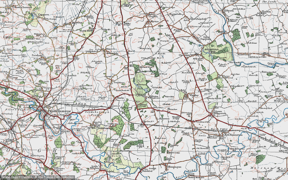 Old Map of Allerton Mauleverer, 1925 in 1925