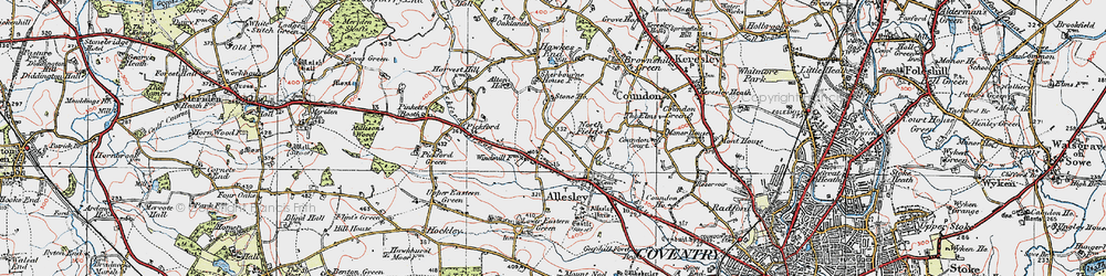 Old map of Allesley in 1920