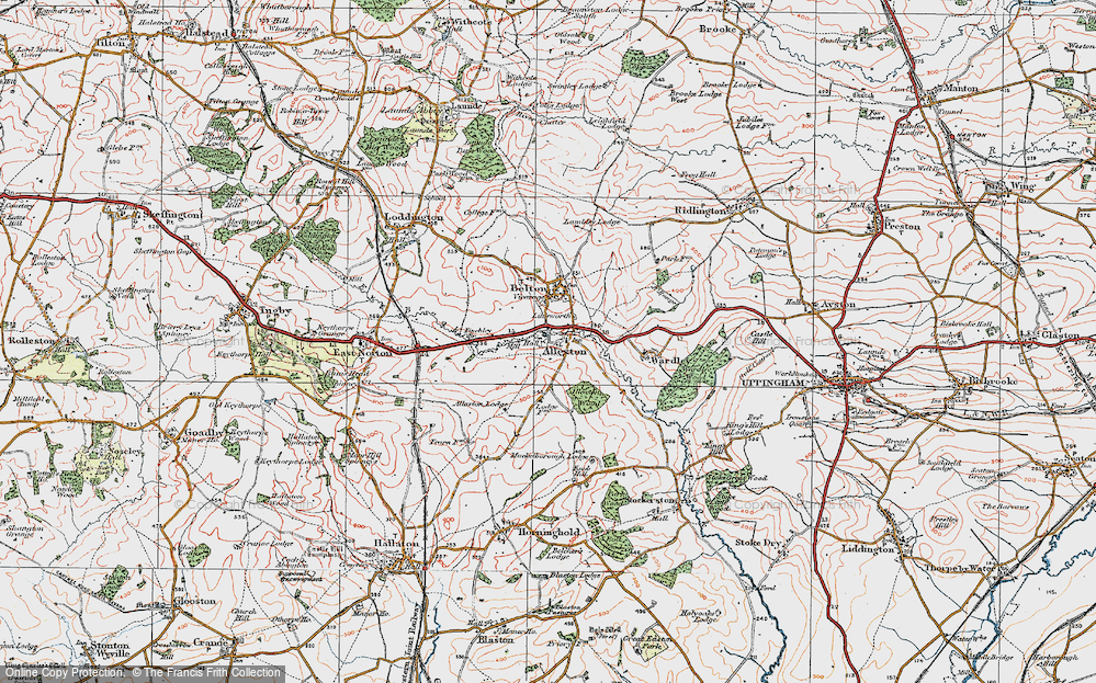 Old Map of Historic Map covering Allexton Lodge in 1921