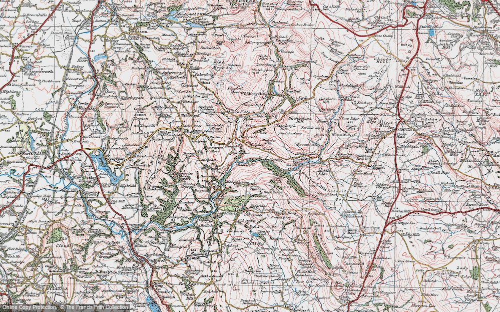 Old Map of Allgreave, 1923 in 1923