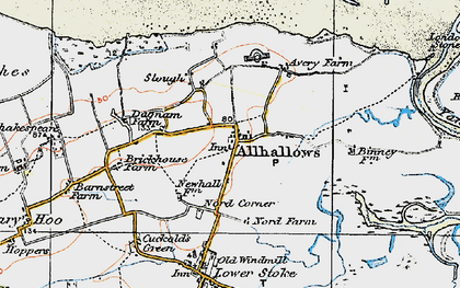 Old map of Allhallows Marshes in 1921