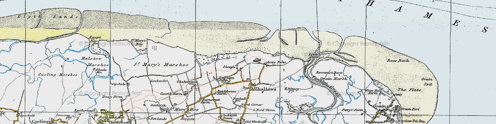 Old map of Allhallows-on-Sea in 1921