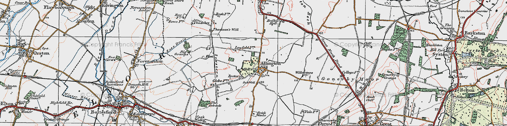 Old map of Allington in 1921