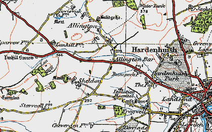 Old map of Allington Bar in 1919