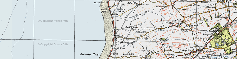 Old map of Allonby in 1925