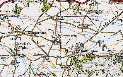 Old map of Allowenshay in 1919