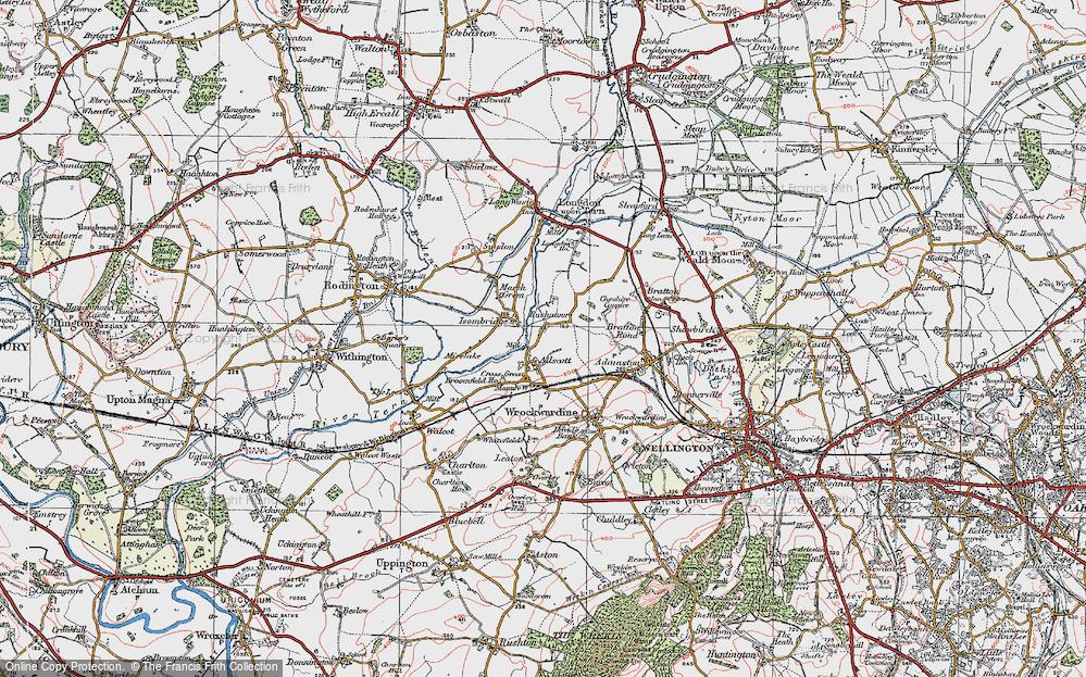 Old Map of Allscott, 1921 in 1921