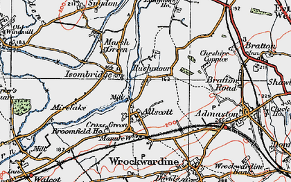 Old map of Allscott in 1921