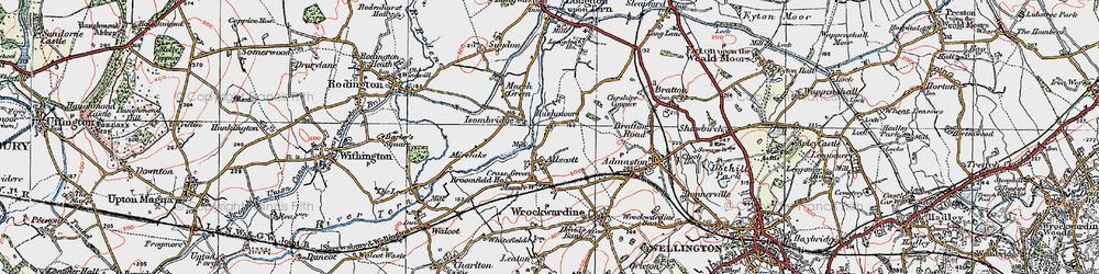 Old map of Allscott in 1921