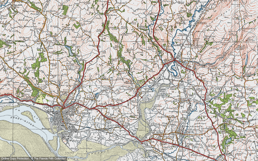 Old Map of Historic Map covering Allt-y-frân Fawr in 1923