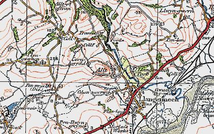 Old map of Allt-y-frân Fawr in 1923