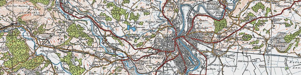 Old map of Allt-yr-yn in 1919