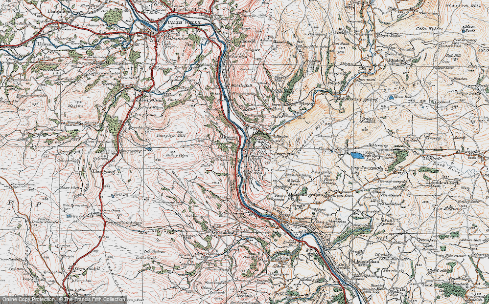Old Map of Historic Map covering Aberedw Rocks in 1923