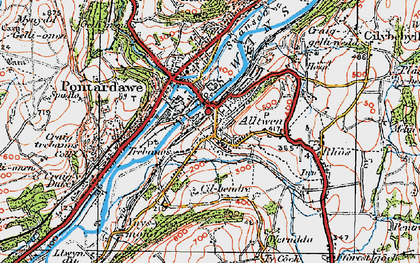 Old map of Alltwen in 1923