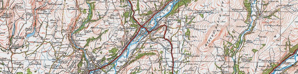 Old map of Alltwen in 1923