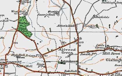 Old map of Allwood Green in 1920
