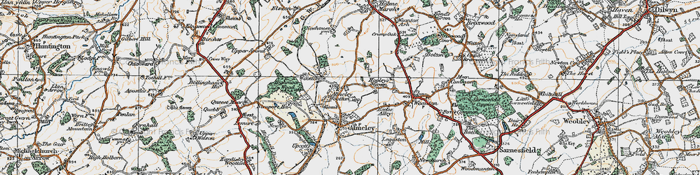 Old map of Almeley Wootton in 1920