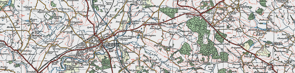 Old map of Almington in 1921