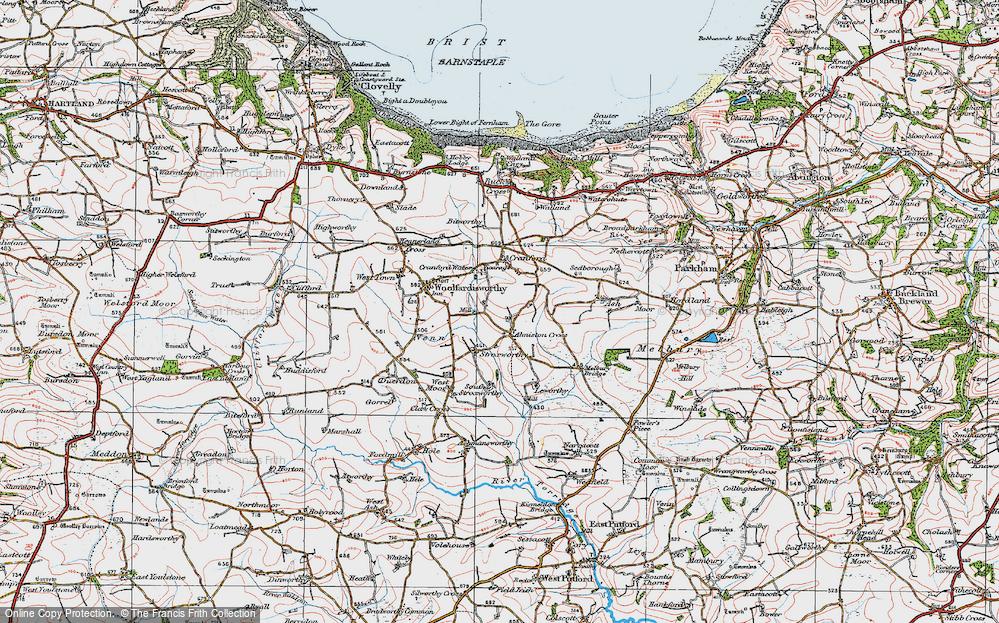 Old Map of Alminstone Cross, 1919 in 1919