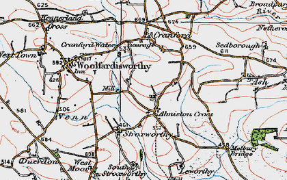 Old map of Alminstone Cross in 1919