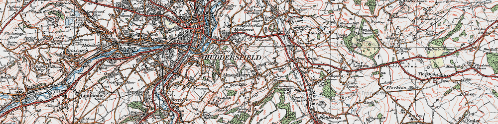 Old map of Almondbury in 1925