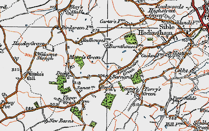 Old map of Almshouse Green in 1921