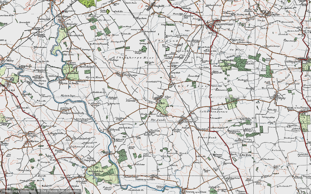Old Map of Alne, 1924 in 1924