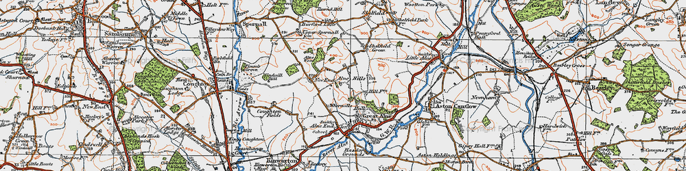 Old map of Alne Hills in 1919