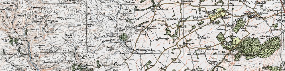 Old map of Alnham Ho in 1925