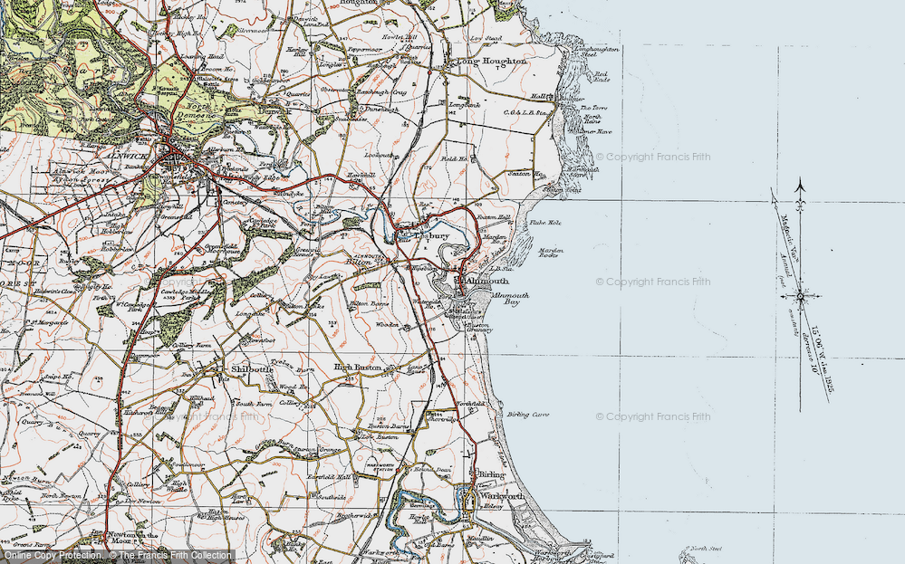 Old Map of Alnmouth, 1925 in 1925