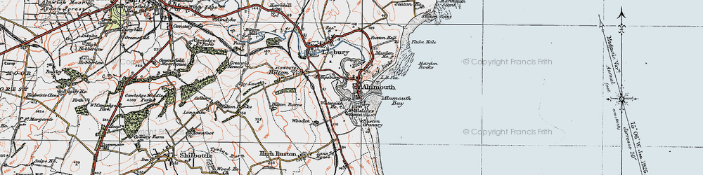Old map of Alnmouth in 1925