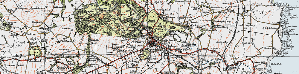 Old map of Alnwick Castle in 1925