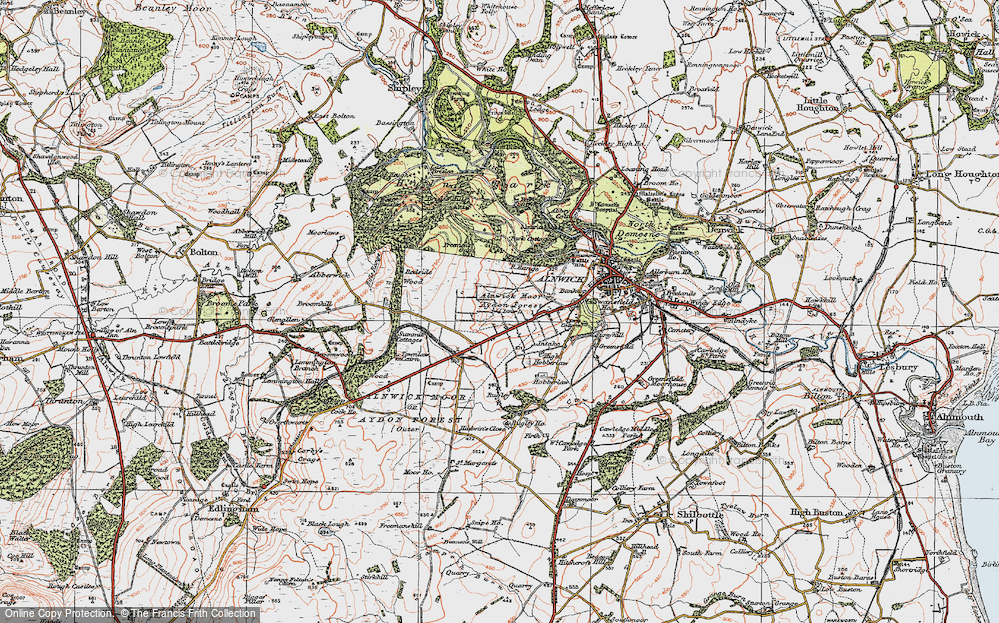 Old Map of Alnwick Moor, 1925 in 1925