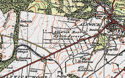 Old map of Alnwick Moor in 1925