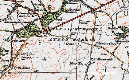 Old map of Alnwick Moor or Aydon Forest (Outer) in 1925