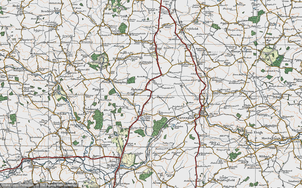 Old Map of Alpheton, 1921 in 1921