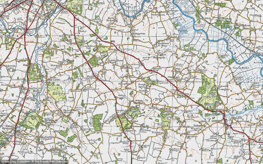 Old Map of Alpington, 1922 in 1922