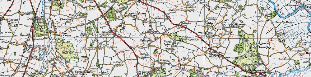 Old map of Alpington in 1922