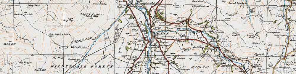 Old map of Alston in 1925
