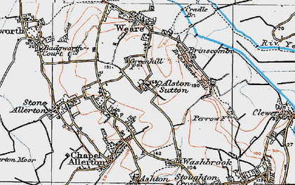 Old map of Alston Sutton in 1919