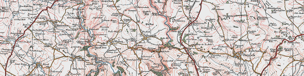 Old map of Alstonefield in 1923
