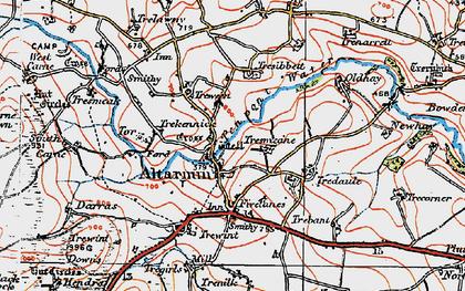 Old map of Altarnun in 1919