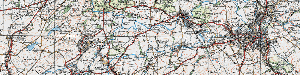 Old map of Altham in 1924