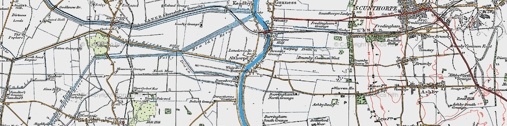 Old map of Althorpe in 1923