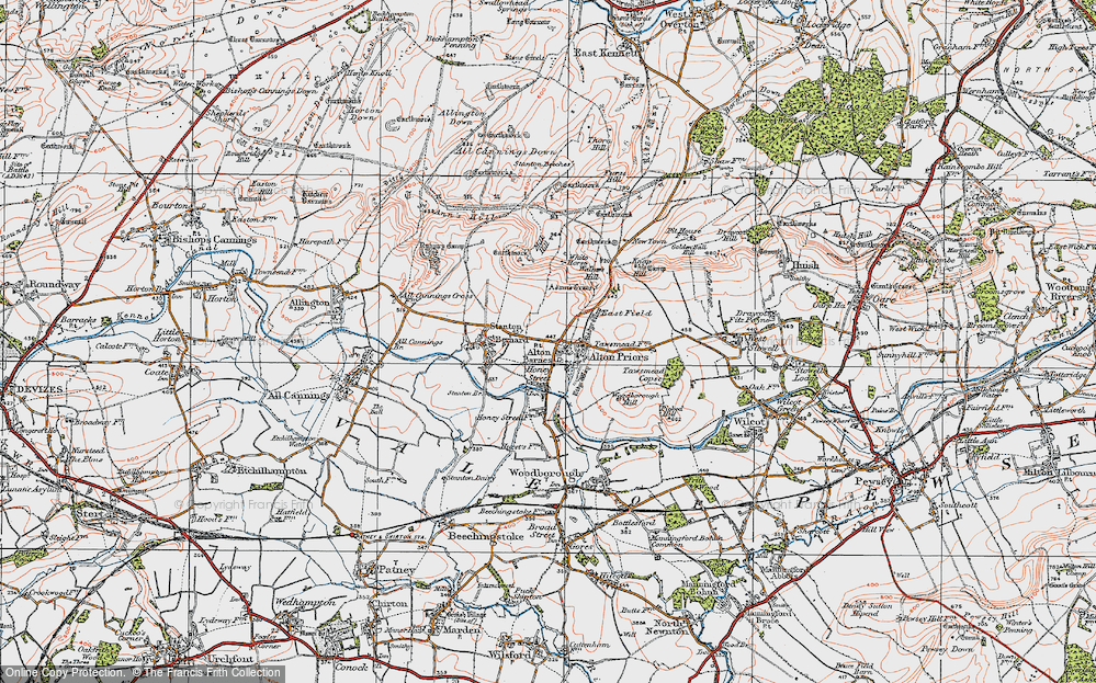 Old Map of Alton Barnes, 1919 in 1919