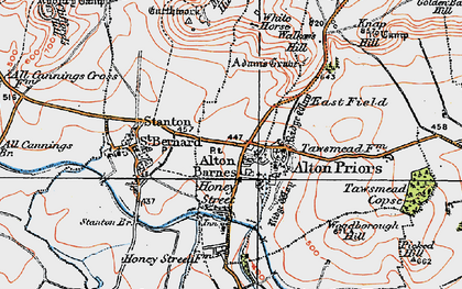 Old map of Alton Barnes in 1919