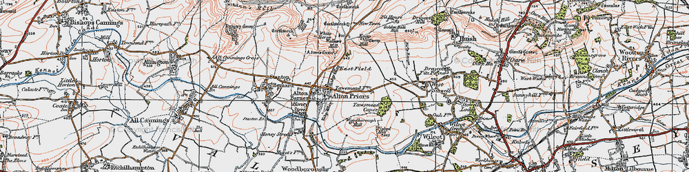 Old map of Adam's Grave (Long Barrow) in 1919