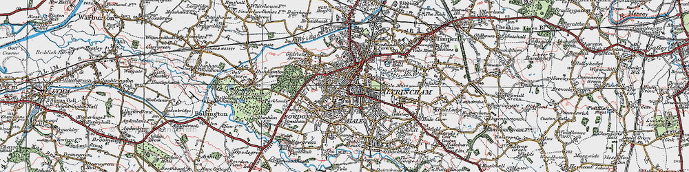 Old map of Altrincham in 1923